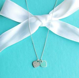 Blue enamel double heart tags necklace